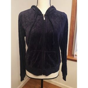 Ambiance Blue Velour Zip Up Hoodie